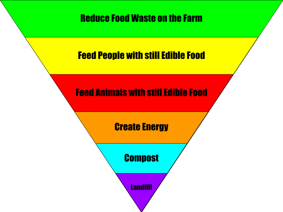 a graphic showing the steps of the Food Waste Pyramid, designed byt he Environmental Protection Agency