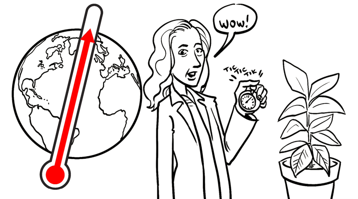 a picture of the globe with a thermometer showing rising temperatures, a plant, and an impressed scientist