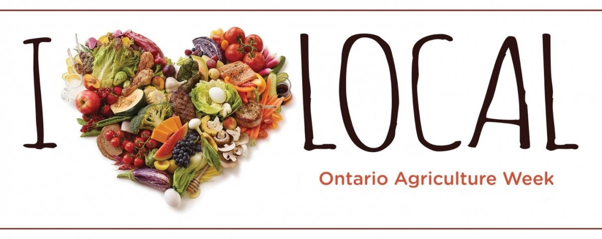 A variety of foods produced in Ontario forming a heart for Ontario Agriculture Week