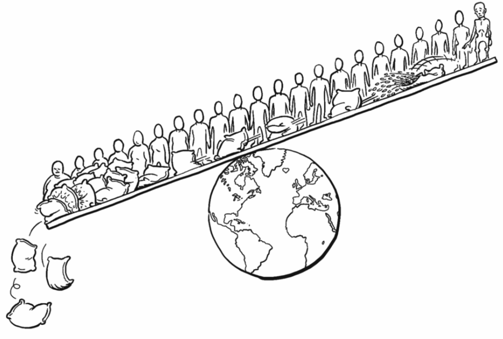 An illustration from the videos showing the imbalance of obesity and hunger in the world.