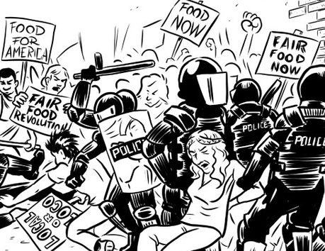 An illustration from the foodcrisis graphic novel of people rioting over low food